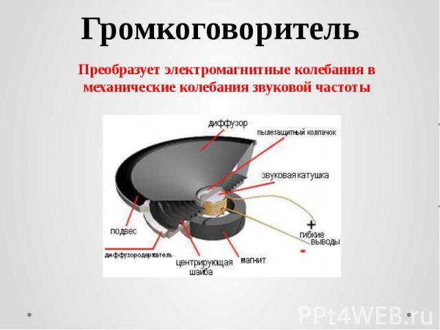 ГромкоговорительПреобразует электромагнитные колебания в механические колебания звуковой частоты