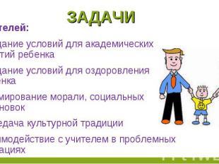 задачи родителей:Создание условий для академических занятий ребенкаСоздание усло
