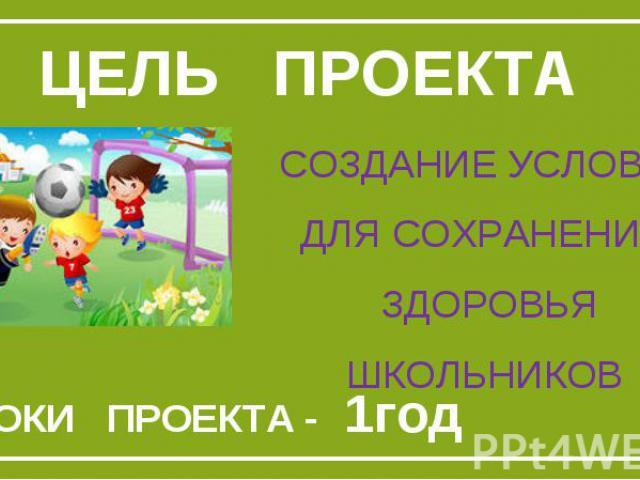 Цель проектаСоздание условий для сохранения Здоровья школьников СРОКИ ПРОЕКТА - 1год
