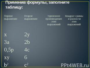 Применив формулы, заполните таблицу: