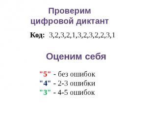 """Проверимцифровой диктантКод: 3,2,3,2,1,3,2,3,2,2,3,1Оценим себя""""5"""" - без ошибок"""""""