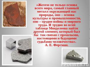 «Железо не только основа всего мира, самый главный металл окружающей нас природы