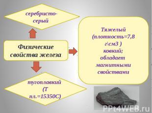 Физические свойства железасеребристо-серый тугоплавкий (Т пл.=15350C)Тяжелый (пл