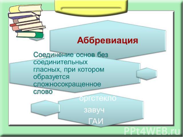 АббревиацияСоединение основ без соединительных гласных, при котором образуется сложносокращенное слово
