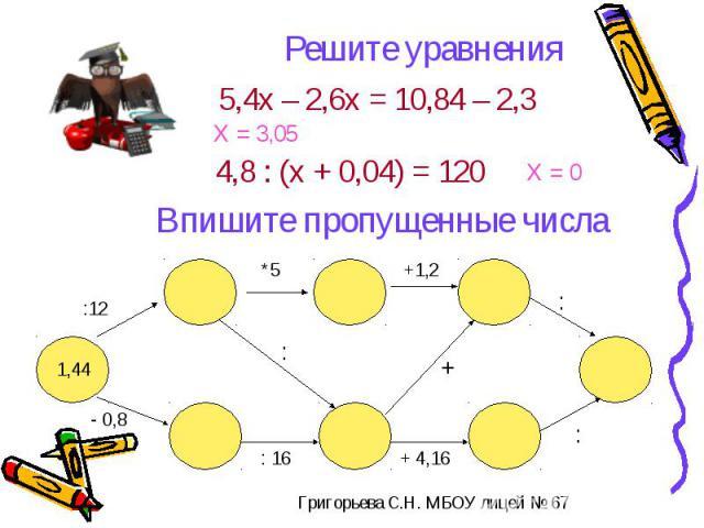 Решите уравненияВпишите пропущенные числа