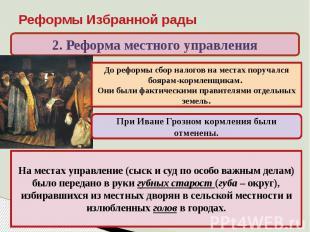 Реформы Избранной рады 2. Реформа местного управленияДо реформы сбор налогов на