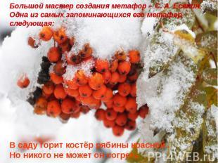 Большой мастер создания метафор – С. А. Есенин. Одна из самых запоминающихся его