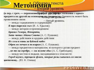 Метонимия (в пер. с греч. — переименование) — это перенос названия с одного пред