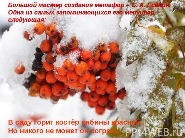 Большой мастер создания метафор – С. А. Есенин. Одна из самых запоминающихся его метафор следующая:В саду горит костёр рябины красной ,Но никого не может он согреть