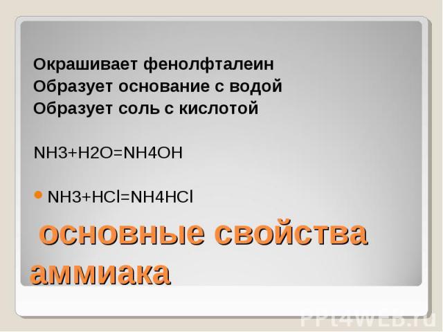 Окрашивает фенолфталеинОбразует основание с водойОбразует соль с кислотойNH3+H2O=NH4OHNH3+HCl=NH4HCl основные свойства аммиака