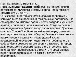 Прп. Поликарп, в миру князь Петр Иванович Барятинский, был по прямой линии потом