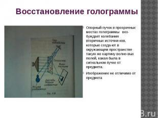 Восстановление голограммы Опорный пучок в прозрачных местах голограммы воз-бужда