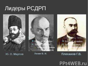 Лидеры РСДРП Ю.О.МартовЛенин В.И.Плеханов Г.В.