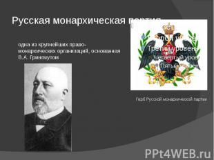 Русская монархическая партия одна из крупнейших право-монархических организаций,