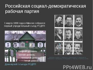 Российская социал-демократическая рабочая партия 1 марта 1898 года в Минске собр