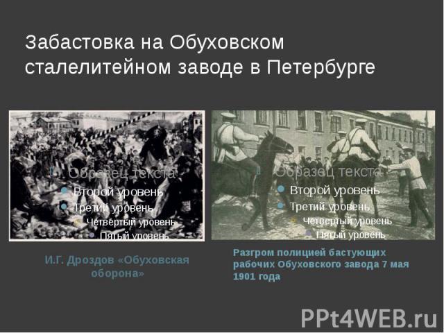 Забастовка на Обуховском сталелитейном заводе в Петербурге И.Г. Дроздов «Обуховская оборона»Разгром полицией бастующих рабочих Обуховского завода 7 мая 1901 года
