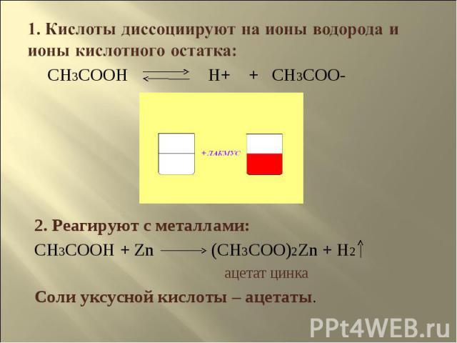 1. Кислоты диссоциируют на ионы водорода и ионы кислотного остатка: 2. Реагируют с металлами:CH3COOH + Zn (CH3COO)2Zn + H2 ацетат цинкаСоли уксусной кислоты – ацетаты.