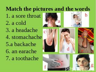 Match the pictures and the words1. a sore throat 2. a cold3. a headache4. stomac