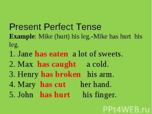 Present Perfect TenseExample: Mike (hurt) his leg.-Mike has hurt his leg. 1. Jan