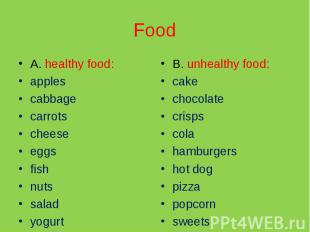 Food A. healthy food:applescabbagecarrotscheeseeggsfishnutssaladyogurtB. unhealt