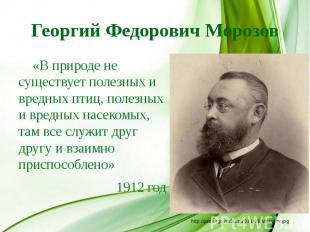 Георгий Федорович Морозов «В природе не существует полезных и вредных птиц, поле