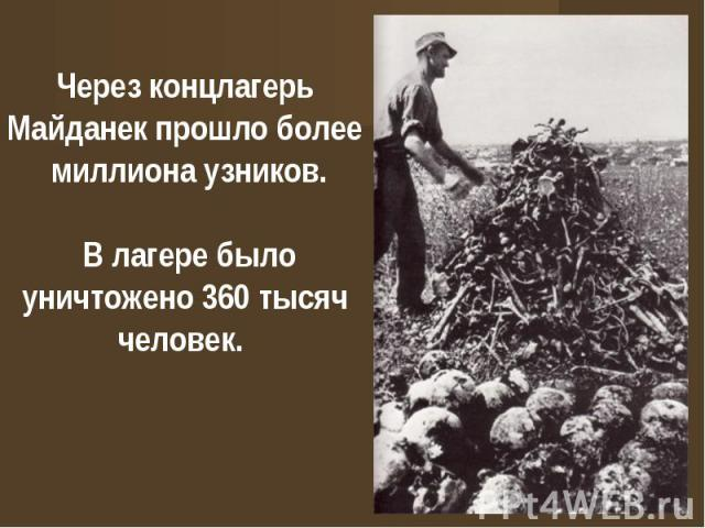Через концлагерь Майданек прошло более миллиона узников. В лагере было уничтожено 360 тысяч человек.