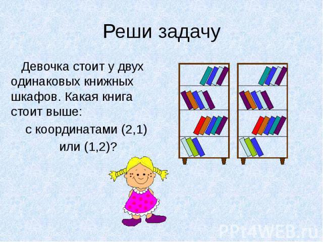 Реши задачу Девочка стоит у двух одинаковых книжных шкафов. Какая книга стоит выше: с координатами (2,1) или (1,2)?