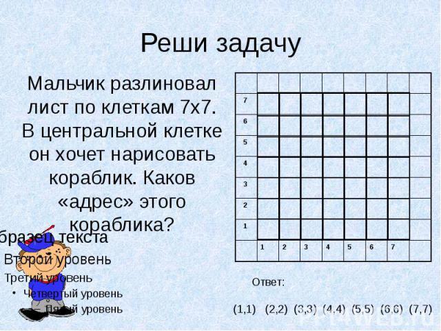 Реши задачу Мальчик разлиновал лист по клеткам 7х7. В центральной клетке он хочет нарисовать кораблик. Каков «адрес» этого кораблика?
