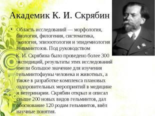 Академик К. И. Скрябин Область исследований — морфология, биология, филогения, с