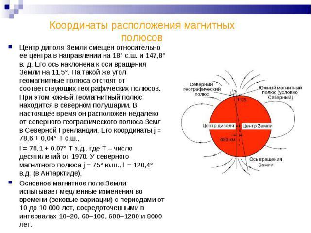 Координаты расположения магнитных полюсов Центр диполя Земли смещен относительно ее центра в направлении на 18° с.ш. и 147,8° в. д. Его ось наклонена к оси вращения Земли на 11,5°. На такой же угол геомагнитные полюса отстоят от соответствующих геог…