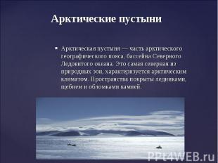 Арктические пустыни Арктическая пустыня— часть арктического географического поя