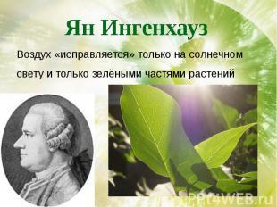 Ян Ингенхауз Воздух «исправляется» только на солнечном свету и только зелёными ч