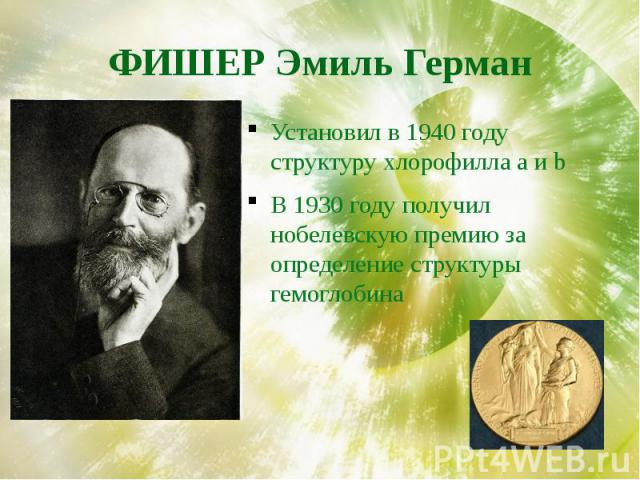 ФИШЕР Эмиль Герман Установил в 1940 году структуру хлорофилла a и bВ 1930 году получил нобелевскую премию за определение структуры гемоглобина