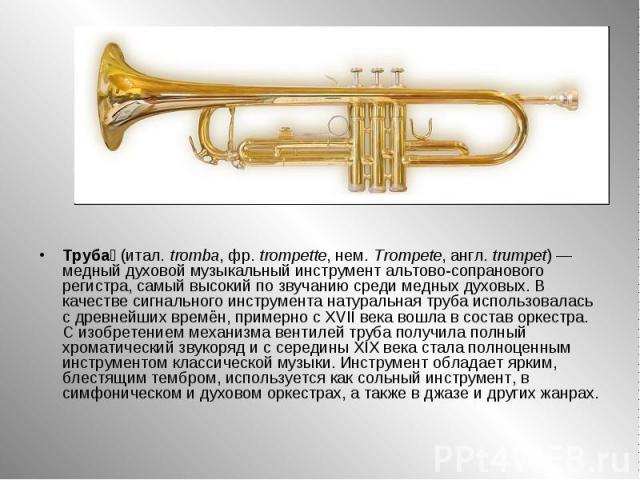 Труба (итал.tromba, фр.trompette, нем.Trompete, англ.trumpet) — медный духовой музыкальный инструмент альтово-сопранового регистра, самый высокий по звучанию среди медных духовых. В качестве сигнального инструмента натуральная труба использовала…