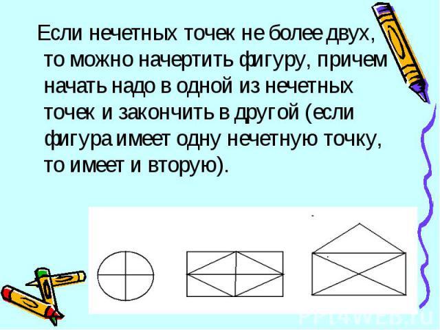 Если нечетных точек не более двух, то можно начертить фигуру, причем начать надо в одной из нечетных точек и закончить в другой (если фигура имеет одну нечетную точку, то имеет и вторую).