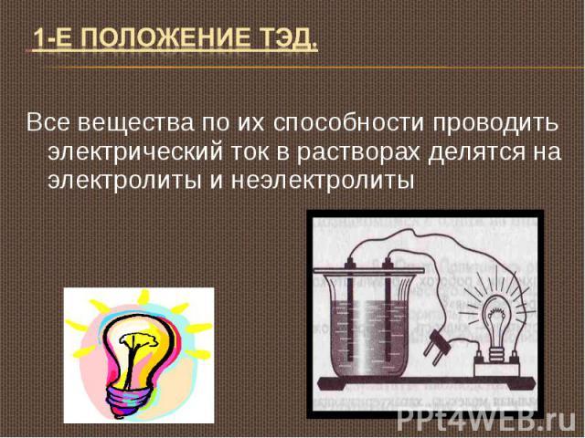1-Е положение ТЭД. Все вещества по их способности проводить электрический ток в растворах делятся на электролиты и неэлектролиты