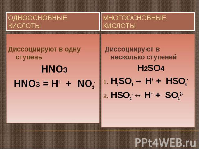 Одноосновные кислоты Диссоциируют в одну ступень HNO3 HNO3 = H+ + NO3-Многоосновные кислоты Диссоциируют в несколько ступеней H2SO4H2SO4 ↔ H+ + HSO4-HSO4- ↔ H+ + SO42-
