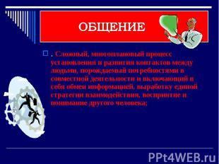 ОБЩЕНИЕ . Сложный, многоплановый процесс установления и развития контактов между