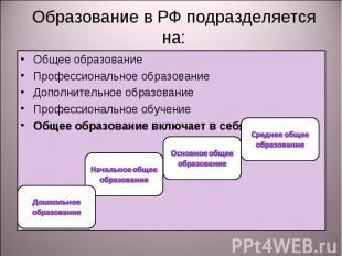Образование в РФ подразделяется на: Общее образованиеПрофессиональное образовани