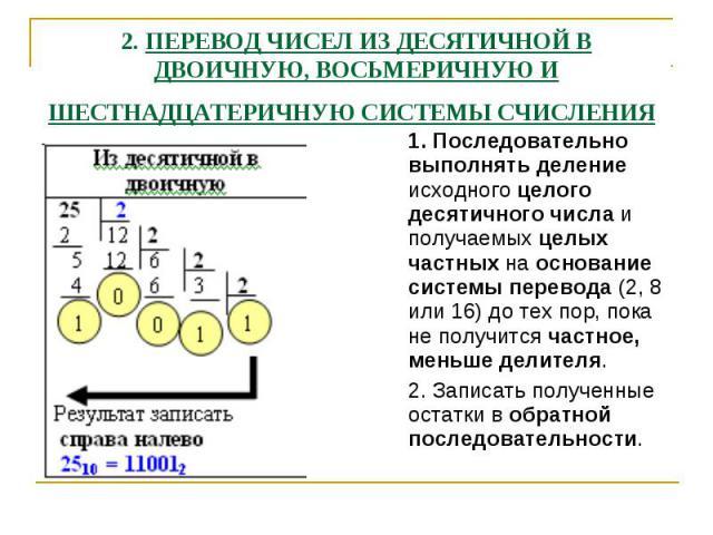 2. ПЕРЕВОД ЧИСЕЛ ИЗ ДЕСЯТИЧНОЙ В ДВОИЧНУЮ, ВОСЬМЕРИЧНУЮ И ШЕСТНАДЦАТЕРИЧНУЮ СИСТЕМЫ СЧИСЛЕНИЯ 1. Последовательно выполнять деление исходного целого десятичного числа и получаемых целых частных на основание системы перевода (2, 8 или 16) до тех пор, …