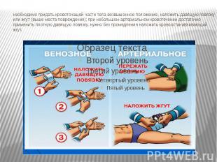 необходимо придать кровоточащей части тела возвышенное положение, наложить давящ