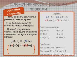 Сложение чисел с разными знаками Алгоритм сложения Чтобы сложить два числа с раз