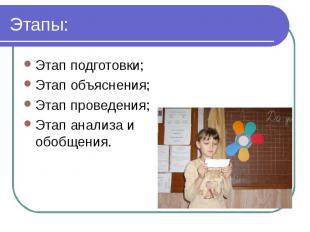 Этапы: Этап подготовки;Этап объяснения;Этап проведения;Этап анализа и обобщения.