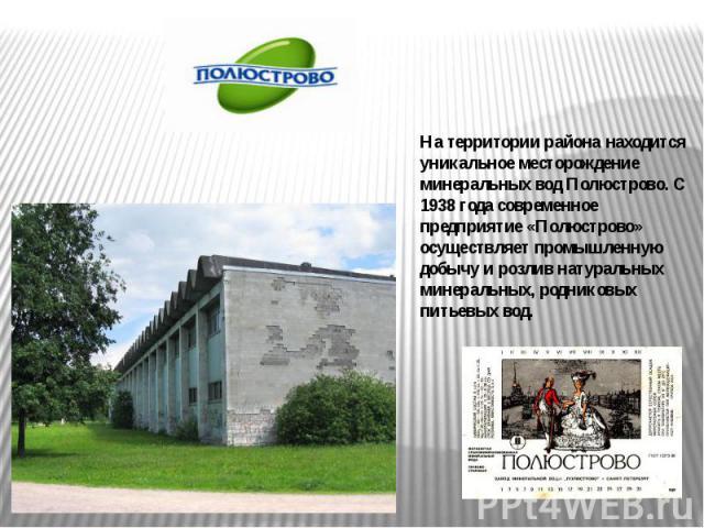 На территории района находится уникальное месторождение минеральных вод Полюстрово. С 1938 года современное предприятие «Полюстрово» осуществляет промышленную добычу и розлив натуральных минеральных, родниковых питьевых вод.