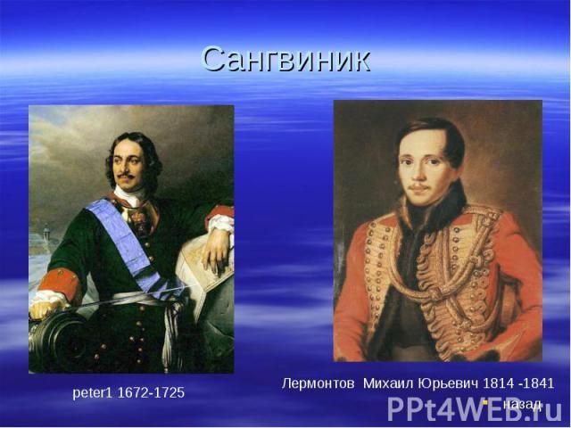 Сангвиник peter1 1672-1725Лермонтов Михаил Юрьевич 1814 -1841