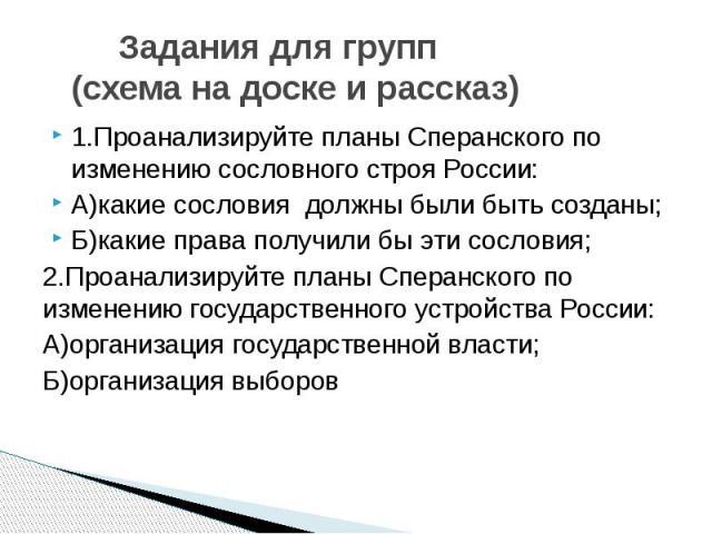 Задания для групп (схема на доске и рассказ)1.Проанализируйте планы Сперанского по изменению сословного строя России:А)какие сословия должны были быть созданы;Б)какие права получили бы эти сословия;2.Проанализируйте планы Сперанского по изменению го…