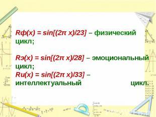 Rф(x) = sin[(2π x)/23] – физический цикл; Rэ(x) = sin[(2π x)/28] – эмоциональный