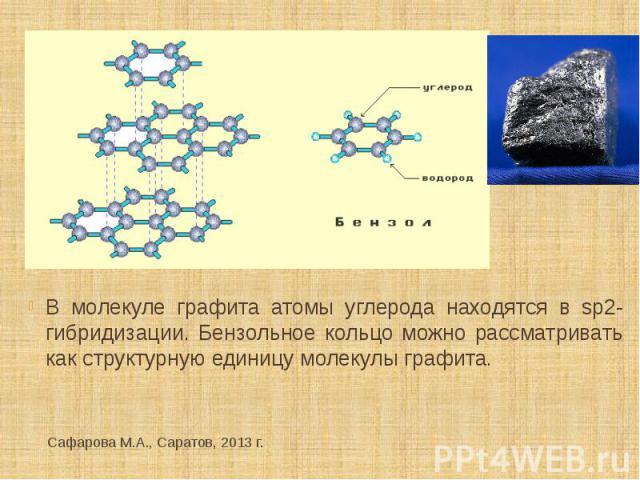 В молекуле графита атомы углерода находятся в sp2- гибридизации. Бензольное кольцо можно рассматривать как структурную единицу молекулы графита.
