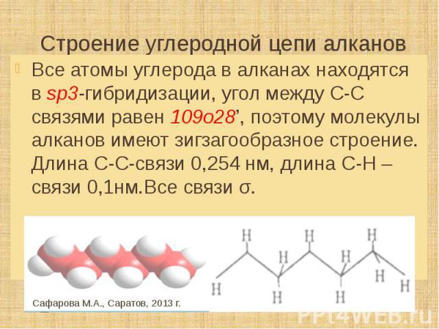 Строение углеродной цепи алканов Все атомы углерода в алканах находятся в sp3-гибридизации, угол между С-С связями равен 109о28', поэтому молекулы алканов имеют зигзагообразное строение. Длина С-С-связи 0,254 нм, длина С-Н – связи 0,1нм.Все связи σ.