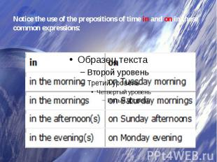 Notice the use of the prepositions of timeinandonin these common expressions